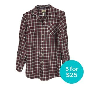 5/$25 - Heritage Shirtings Button Down Flannel Red